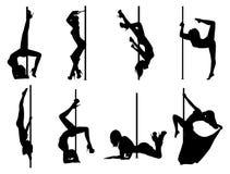 Silhuetas das mulheres da dança de Polo Fotos de Stock Royalty Free