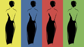 Silhuetas das mulheres nos vestidos de noite 1 Ilustração Stock