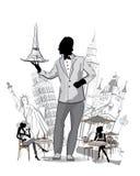 Silhuetas das vistas em Europa Garçom com uma bandeja Imagens de Stock Royalty Free