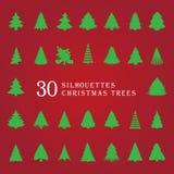 30 silhuetas de árvores de Natal Fotos de Stock