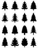 Silhuetas de ícones da árvore Imagens de Stock