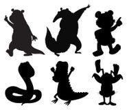Silhuetas de animais da dança Fotografia de Stock Royalty Free