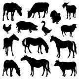 Silhuetas de animais de exploração agrícola Foto de Stock Royalty Free