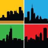 Silhuetas de Chicago ilustração stock