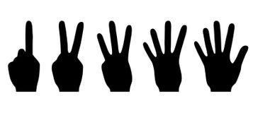Silhuetas de contar as mãos, ilustração do vetor Imagens de Stock