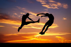 Silhuetas de dois lutadores Foto de Stock