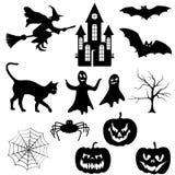 Silhuetas de Halloween ajustadas Imagem de Stock Royalty Free