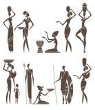 Silhuetas de homens e de mulheres africanos nativos ilustração royalty free
