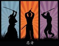 Silhuetas de Ninja ilustração royalty free