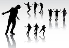 Silhuetas de povos da dança Ilustração Stock