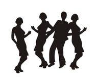 Silhuetas de povos da dança Fotos de Stock