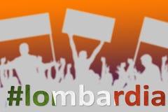 Silhuetas de povos de protesto Itália, referendo de Lombardia fotos de stock
