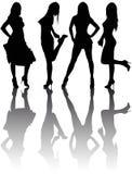 Silhuetas de quatro meninas bonitas Fotos de Stock Royalty Free