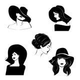 Silhuetas de retratos do ` s das mulheres Imagens de Stock Royalty Free