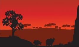 Silhuetas do africano com animais do rinoceronte Imagem de Stock