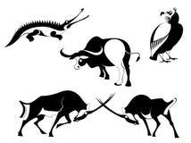 Silhuetas do animal da arte Fotos de Stock