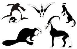 Silhuetas do animal da arte ilustração stock