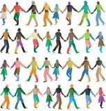 Silhuetas do arco-íris dos povos Imagens de Stock