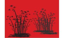 Silhuetas do bambu com fundo vermelho Imagem de Stock Royalty Free