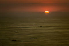 Silhuetas do barco no por do sol imagens de stock royalty free