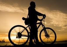Silhuetas do ciclismo Imagens de Stock Royalty Free