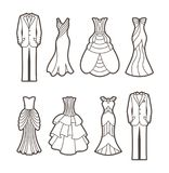 Silhuetas do corte do casamento Imagem de Stock