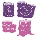 Silhuetas do coto da inscrição do amor ajustadas Imagem de Stock Royalty Free