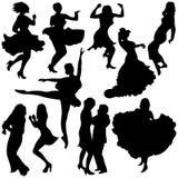 Silhuetas do dançarino Fotografia de Stock