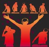 Silhuetas do DJ do vetor ilustração do vetor