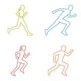 Silhuetas do esboço dos corredores A linha figura o marathoner Imagens de Stock Royalty Free