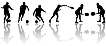 Silhuetas do esporte Foto de Stock