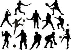 Silhuetas do esporte do vetor Imagens de Stock