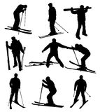 Silhuetas do esqui Imagem de Stock Royalty Free