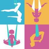 Silhuetas do exercício das meninas Imagem de Stock Royalty Free