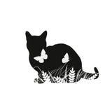 Silhuetas do gato com borboletas Imagem de Stock