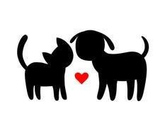 Silhuetas do gato e do cão dos desenhos animados Imagens de Stock