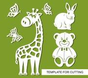 Silhuetas do girafa, do urso de peluche, do coelho e das borboletas ilustração stock