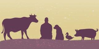 Silhuetas do homem com muitos animais retros Fotografia de Stock