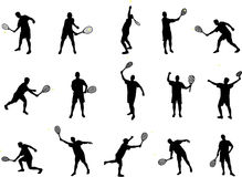 Silhuetas do jogador de ténis Foto de Stock