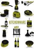 Silhuetas do Kitchenware Foto de Stock Royalty Free