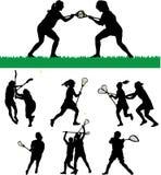 Silhuetas do Lacrosse das mulheres ilustração stock