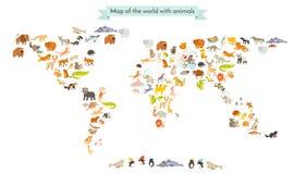Silhuetas do mapa do mamífero do mundo Mapa do mundo dos animais Isolado na ilustração branca do vetor do fundo Imagens de Stock