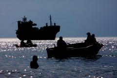 Silhuetas do mar Foto de Stock