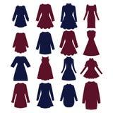 Silhuetas do mulher-vestido bonito Imagem de Stock