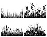 Silhuetas do prado ajustadas Imagens de Stock