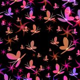 Silhuetas do redemoinho colorido das borboletas que aumenta acima, vetor ilustração do vetor
