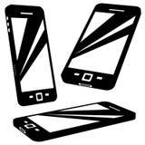 Silhuetas do smartphone do vetor Imagem de Stock