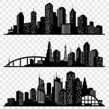 Silhuetas do vetor da construção da cidade, skylines urbanas do vetor ajustadas ilustração royalty free