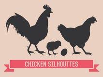Silhuetas do vetor da galinha Fotos de Stock Royalty Free
