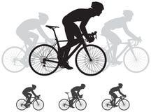 Silhuetas do vetor da raça de bicicleta Imagem de Stock Royalty Free